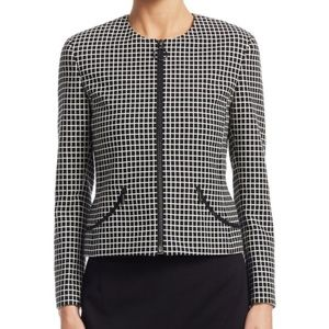 Akris Punto Zip-Front Grid Pattern Jacket Size 6US